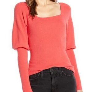 NEW Something Navy XXS Square Neck Sweater Red